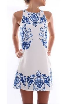 25cb02d8091 Jean Jail Blue White Printed Dress - so wish I could pull something like  this off! Can I alter my blue   white dress a bit