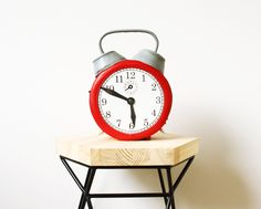 Alarm Clock LeatherBag Red Felt Clock Purse by krukrustudio on Etsy