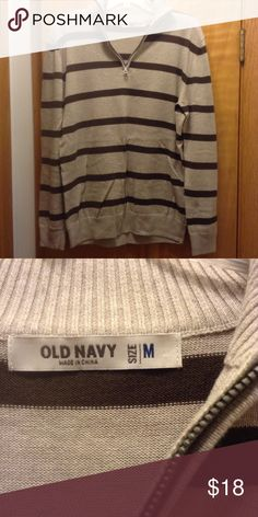 Gray and blue mock neck men's sweater Gray and blue striped mock neck sweater Old Navy Sweaters Zip Up