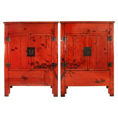Pair of 19th Century Chinese Red Lacquer Cabinets with Birds in Flight