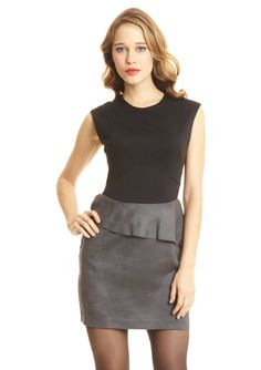 ideeli | DREW Sleeveless Dress with Ultrasuede Peplum Skirt