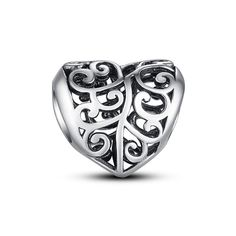 "Silver openwork heart charm ❤Glamulet jewelry, fits all brands bracelet. Wonderful gifts for family, lover, friends...Get 5% off on www.glamulet.com with coupon code ""PIN5"" #Glamulet"