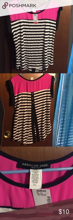 Open back pink top with B&W stripes Super cute open back embellished with 3 golden buttons!! Never worn, in perfect condition and still has tags! Could be worn casually or formally. Note: The shirt I'm selling is pink, the blue pic is just to model the shirt. Make me an offer! ☺ *not listed brand* American Eagle Outfitters Tops Blouses