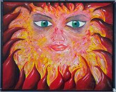 """""""Ho caldo"""" Acrilici su tela. Realizzato nel 2003, dal titolo """"Rabbia"""". La rivisitazione del 2013 ha ridimensionato (in apparenza)lo stato d'animo ed ha aggiunto una cornice in listello d'abete dipinto di nero con bottoni decorativi. E' la rappresentazione di eventi vissuti con passione, dal gusto ardente, emotivo, enfatico, caldo. Tutto questo di ripropone 10 anni dopo con eguale calore."""