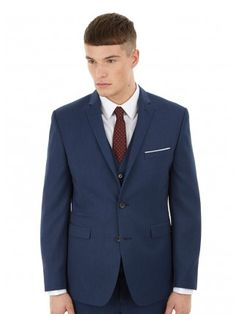 Single breasted with 2 button fastening and a notch lapel Fabric & Care Viscose. Burton Menswear, Blue Texture, Fitted Suit, Suit Jacket, London, Fitness, Jackets, Fashion, Down Jackets