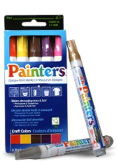 painters markers.  Gives you the control of paint with the ease of markers.