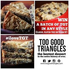 Repin this pic with #ilovetgt and a fun comment by August 26th @ midnight to #win a batch of #toogoodtriangles in ANY #style. You can enter on FB, IG, PIN & TW to increase your chances. www.toogoodtriang... #tgt #dessert #contest #chocolate #vegan #glutenfree
