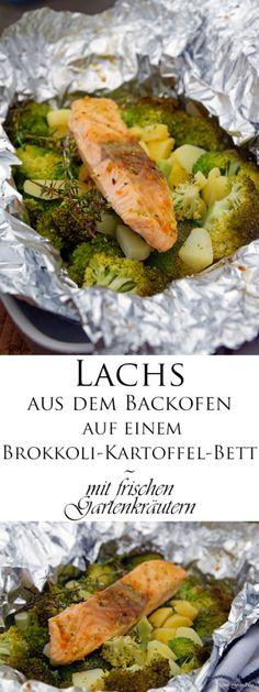 Lachs aus dem Backofen auf einem Brokkoli-Kartoffel-Bett ~ mit frischen Gartenkräutern -
