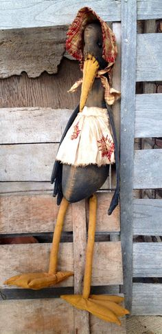 Primitive Stuffed Crow Doll  Lady by BeaverBoutiquePrim on Etsy, $25.00