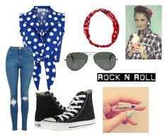 """1960's rocker"" by cutemonsterbvb on Polyvore featuring Converse, Topshop, Carole and Ray-Ban"