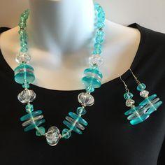 80s Vintage Necklace Set Blue Aqua shades Large by mytimevintage
