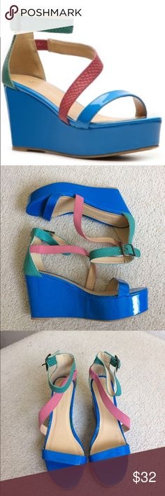 """C-Label Botegga-3 Multi Color Wedge NWOT A fun flatform wedge sandal perfect for any occasion! Features a strappy faux leather upper, criss cross vamp and open toe. Adjustable buckle with slight padding for all day comfort. Never worn but have some marks and what not from laying around my closet as pictured. Heel 3 1/2"""" platform approx 1 1/2"""" SS * C-Label Shoes Wedges"""