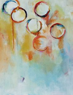 """Bubbles 3  - original abstract oil painting 12x16"""""""