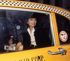 Jacqueline Kennedy Onassis, Doubleday editor and former first lady, riding in a Checker cab. New York City 1972 © from New York New York photographs by Harry Benson, text by Hilary Geary Ross, published by powerHouse Books