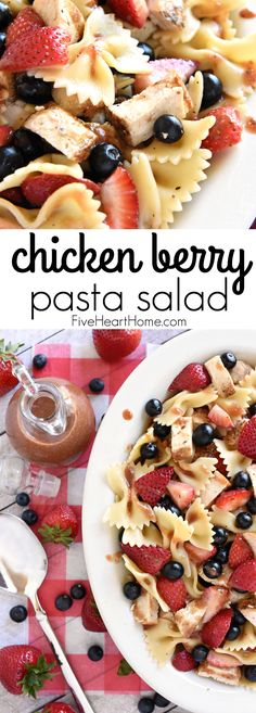 Chicken Berry Pasta Salad ~ a sweet and savory summer dish drizzled with fresh Strawberry Balsamic Vinaigrette.and with its red, white, and blue color… Pasta Salad For Kids, Salads For Kids, Pasta Salad Recipes, Recipe Pasta, Potluck Dishes, Fruit Dishes, Food Dishes, Picnic Potluck Recipes, Side Dishes