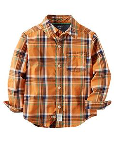 Carters Little Boys Plaid ButtonFront Shirt Orange Toddler 3t * Click on the image for additional details.Note:It is affiliate link to Amazon. #BoysClothing