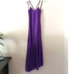 Single Spaghetti Strap Purple Glitter Formal - $25