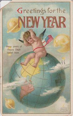 Postcard HAPPY NEW YEAR POSTMARKED 1910 Vintage Antique Postcard written message #NewYear