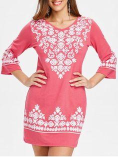 Shift Dresses, Mini Dress With Sleeves, Half Sleeves, Cute Dresses, Casual Dresses, Women's Casual, Ethnic Print, Ideias Fashion, Cold Shoulder Dress
