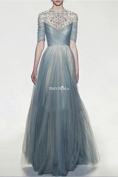 High Neck Half Sleeves Pleated Tulle Prom Dress With Beads