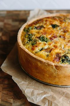 Deep-Dish Quiche Lorraine with Swiss Chard and Bacon Recipe. Hosting a ladies brunch with your friends and looking for ideas and recipes? Try this make ahead classic, perfect for a crowd and it's a hit at parties of all kinds!