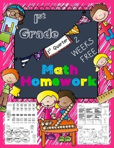 2 WEEKS FREE of my homework packet...This Math Homework - 1st Grade is a great weekly homework packet that will review all common core strands on a weekly basis.  It is very kid-friendly, easy to read, examples are given for most problems, and it's packed with real work...not just time-wasting work.