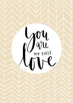 """Een mooie valentijnskaart met de tekst """"You are my first love"""", verkrijgbaar bij #kaartje2go voor €1,89"""