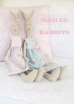 How To Make a Maileg look-a-like Rabbit for Spring. Full pattern and step-by-step instructions. There's also a pattern for a cute dress and shoes available on Shabby Art Boutique. Doll Sewing Patterns, Sewing Toys, Sewing Crafts, Sewing Projects, Stuffed Animal Patterns, Diy Stuffed Animals, Maileg Bunny, Sock Animals, Knitted Dolls