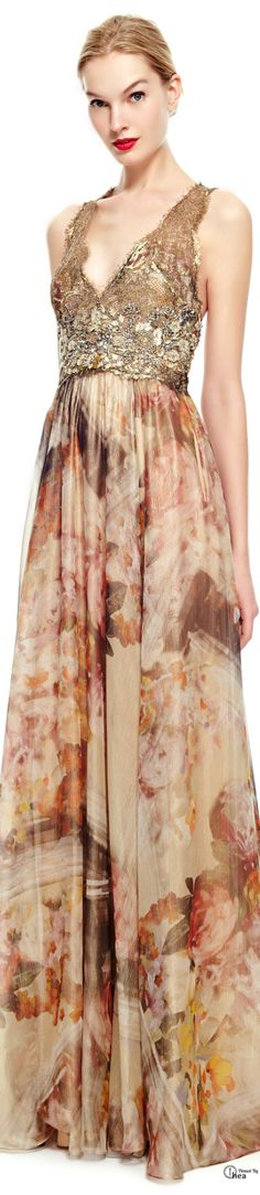 Marchesa ● Pre-Fall 2014, Gold Foil Printed Gown