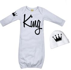 Cool Baby Boy's Take Home Outfit - King Black and White Crown