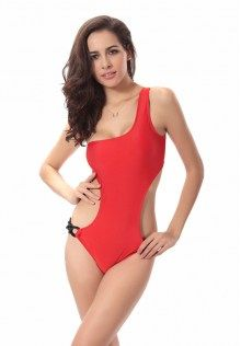 5f75abbf8d468 One Shoulder Solid Cut Out Swimsuit One Shoulder Bikini
