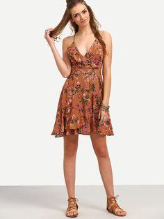 Shop Multicolor Floral Print Lace-up Back Ruffle Dress online. SheIn offers Multicolor Floral Print Lace-up Back Ruffle Dress & more to fit…