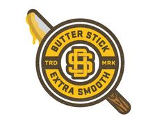Butter stick Brand Identity Design, Logo Design, Creative Logo, Logo Ideas, Graphic Illustration, Badges, Crossfit, Butter, Smooth