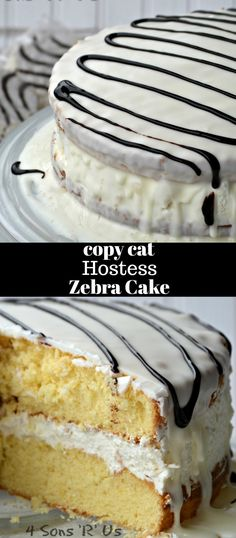 A fluffy whipped cream filling sandwiched between two soft yellow cakes and covered in a luscious layer of white chocolate. This Copy Cat Hostess Zebra Cake is topped off with a chocolate drizzle before being sliced and served. It's a delicious homage to one of your favorite childhood treats.