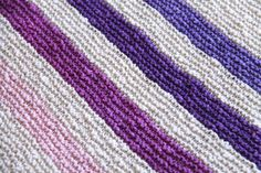 Pink and Purple Hand Knit Organic Cotton Blanket