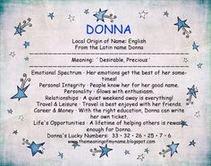 Donna - is actually Italian, it means Lady or Woman- as is Donna Maria (me) - means Lady Mary; or Bella Donna - Beautiful Woman.