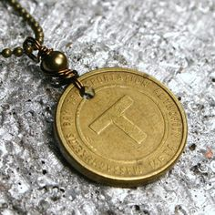 Boston Vintage Subway T Token Necklace  Simple by walkonthemoon, $32.50