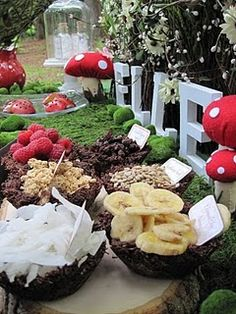 Woodland fairy party food. Chocolate bowls look like twigs - v clever!