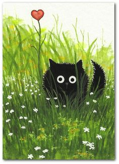 Draw Cats Black Fuzzy Cat - One Love Art Print by Bihrle - Created from one of my Original Paintings. ~ AmyLyn Bihrle Tell that special someone you love them! I Love Cats, Crazy Cats, Cute Cats, Funny Cats, Pretty Cats, Beautiful Cats, Funny Animals, Art Amour, Photo Chat