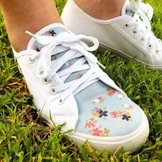 0d02729fb Cute sneakers embellished with In the Meadow fabric designed by Keera Job  for Riley Blake Designs