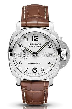 Panerai Contemporary Luminor 1950 3 Days Automatic Watch - PAM00523. Cushion-shaped brushed steel case (42mm diameter, 15mm thick) with transparent case back, polished steel bezel, black alligator strap with steel tang buckle, white dial with luminescent hands and black Arabic numerals, date at 3 o'clock, seconds at 9 o'clock, 28 jewel in-house Caliber P.9000 self-winding mechanical movement with 3 day power reserve, fully protected crown-lock mechanism, water resistant to 30 meters.