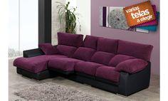 Sofá con chaise longue izquierda, asientos deslizantes. Varios colores