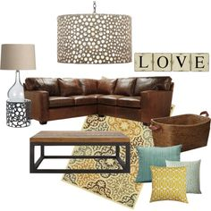 Turquoise & Yellow Living Room by slartley on Polyvore featuring interior, interiors, interior design, home, home decor, interior decorating, Oly, Simon Pearce, Oriental Weavers and OKA