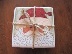Awesome Christmas gift idea... easy coasters with tiles and napkins