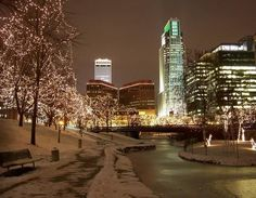 Downtown Omaha at Christmastime--Gene Leahy Mall with buildings. Description from pinterest.com. I searched for this on bing.com/images