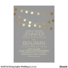 Gold Foil String Lights Wedding 13 Cm X 18 Cm Invitation Card