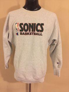 VTG Seattle Super Sonics Champion Reverse Weave Sweatshirt 1990's 2XL NBA Kemp #Champion #SeattleSupersonics