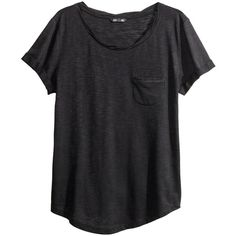 H&M Jersey top ($12) ❤ liked on Polyvore featuring tops, t-shirts, shirts, tees, black, twisted tees, black tee, twisted t shirts, black t shirt и short sleeve tee