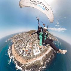 On the go with #GoProFamily member @theblondeabroad.  Update your #GoProApp today for the ability to connect, control, + share #GoProFusion content from both Android + IOS devices.  • • • #GoPro #GoProTravel #Paragliding #SouthAfrica #GoProGirl #TravelPhotography