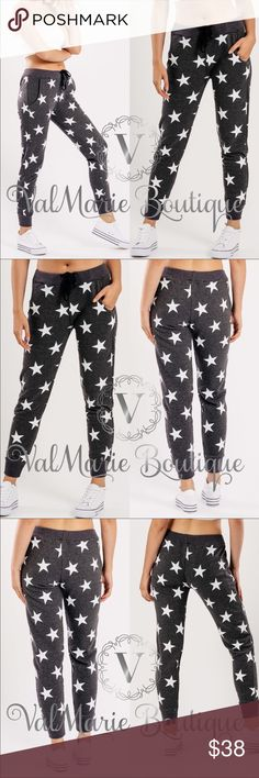 Charcoal star print jogger lounge pants Mega comfy and super trendy charcoal star Joggers are so comfortable. Fits casuall and baggy. S(2-4) M(6-8) L(10-12) XL (14) - 50% cotton, 50% poly. Stretchy drawstring waist. Feel free to ask measurements. ValMarie Pants Track Pants & Joggers